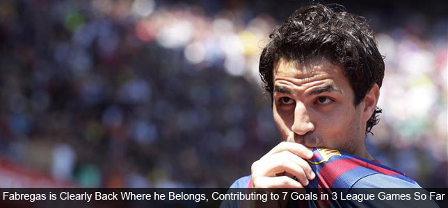Fabregas Flourishing While Arsenal Flounder