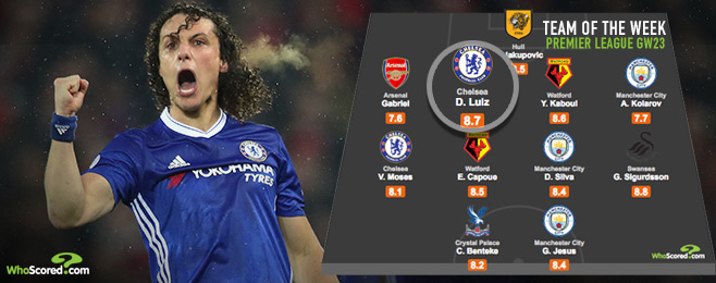 Key man Luiz can ensure Chelsea end Arsenal's title hopes